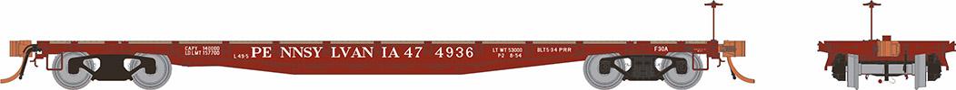 Rapido 138002-5 HO - F30A 50Ft Flat Car: PRR 1950s Era #475028