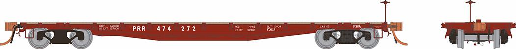 Rapido 138003-1 HO - F30A 50Ft Flat Car: PRR 1960s Era #474272