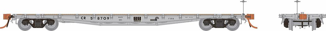 Rapido 138005-5 HO - F30A 50Ft Flat Car: Conrail MOW #59723