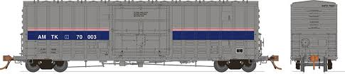 Rapido 137007 HO Scale - B-100-40 Boxcar: Amtrak Phase 4 (3 pack)