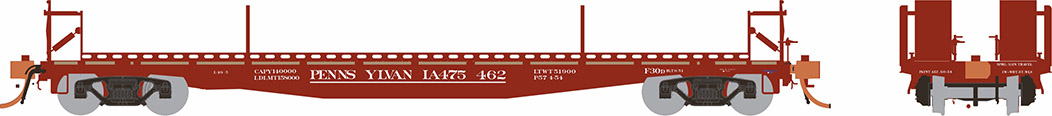 Rapido 138007-4 HO - F30D 50Ft TOFC Flat Car: PRR Delivery #475455
