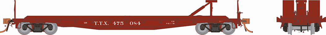 Rapido 138008-2 HO - F30D 50Ft TOFC Flat Car: TTX Early Red #475048