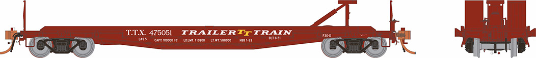 Rapido 138009 HO - F30D 50Ft TOFC Flat Car: TTX Late Red - 6(pkg)