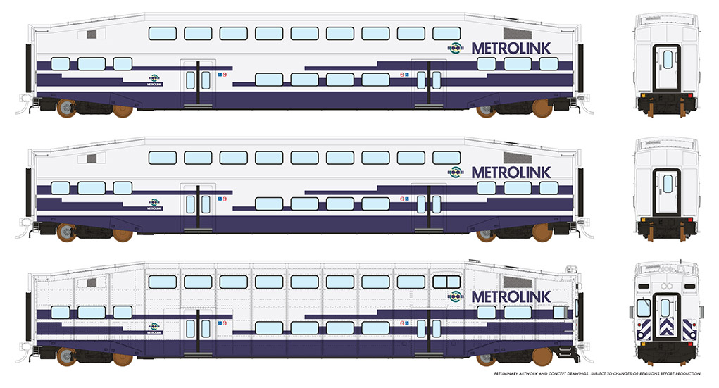 Rapido 146010 HO - BiLevel Commuter Car - Metrolink - Set #2