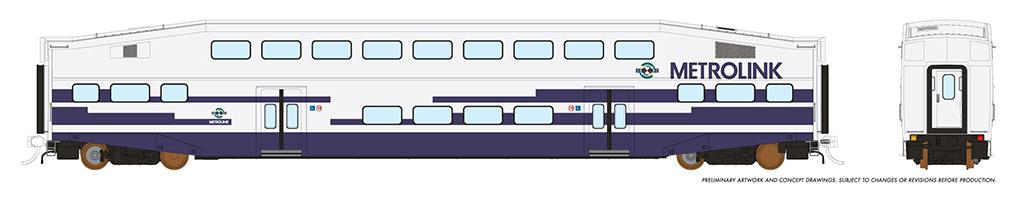 Rapido 146011 HO - Single BiLevel Commuter Car - Metrolink - Unnumbered