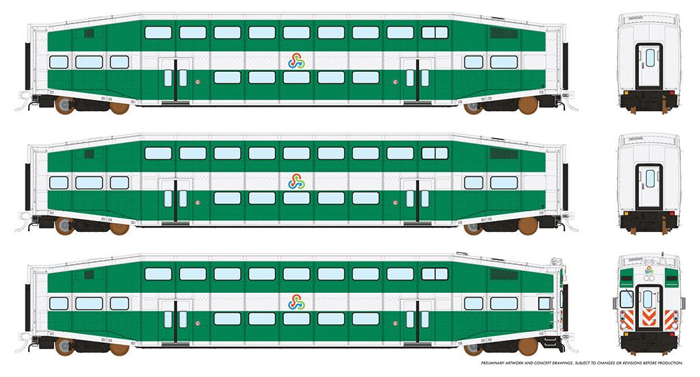 Rapido 146016 HO - BiLevel Commuter Car - TriRail - Set #2
