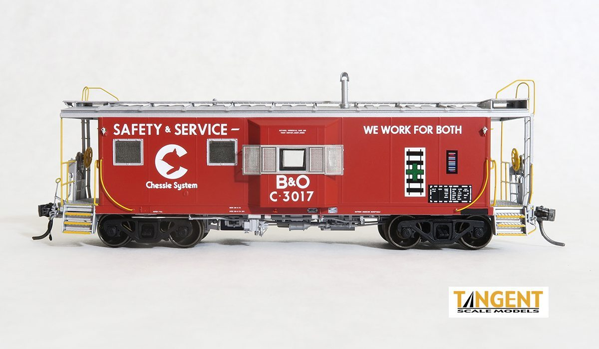 Tangent Scale Models HO 60016-01 - ICC I-18 Steel Bay Window Caboose - B&O Chessie System- Maroon Safety, 1975 #C-3017