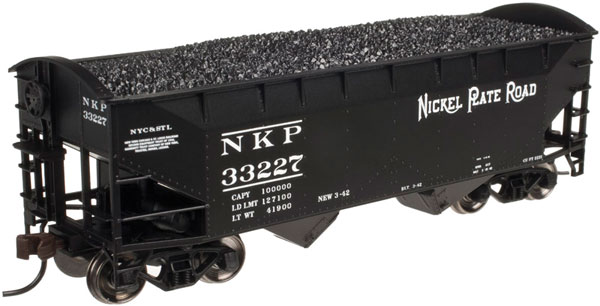 Atlas Trainman 20 003 156 2-Bay Offset Side Hopper w/Round End Nickel Plate Road #33145