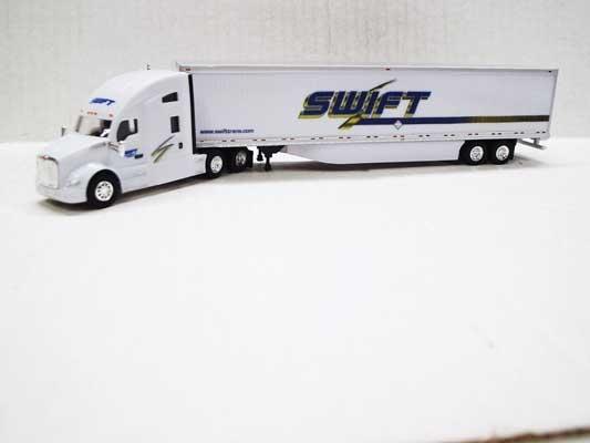 Trucks n Stuff TNS027 - HO Kenworth T680 Sleeper-Cab Tractor - 53ft Dry Van Trailer - Swift