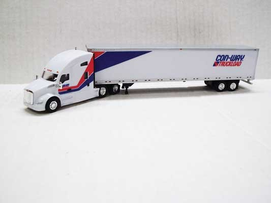 Trucks n Stuff TNS032 - HO Kenworth T680 Sleeper-Cab Tractor - 53ft Dry Van Trailer - Con-Way Truckload