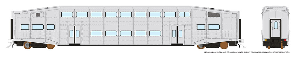 Rapido 146092 HO - Single BiLevel Commuter Car - Undecorated Coach - Series 1 Body