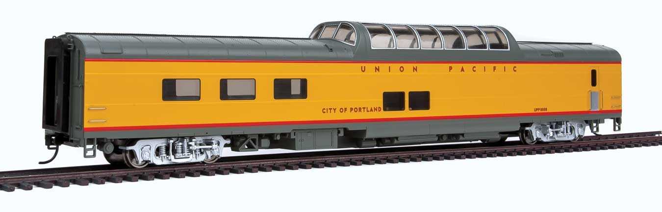 WalthersProto 18153 HO Scale 85 ACF Dome Diner - Ready to Run -- Union Pacific(R) 8008 (Heritage Fleet, City of Portland; yellow, gray)  920-18153