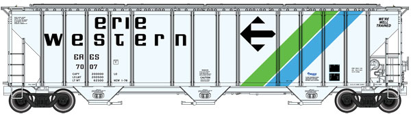 WalthersProto HO 106117 56 FT Evans 4780 Cubic Foot 3-Bay Covered Hopper - Erie Western ERES #7015