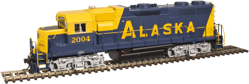 Atlas Model Railroad Co. 10002411 HO Scale EMD GP38 Low Nose w/Sound & DCC - Master(R) Gold -- Alaska (Blue/Yellow) #2007