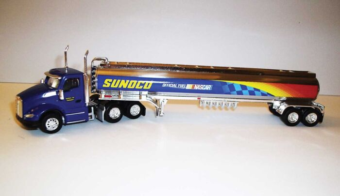 Trucks n Stuff TNS101 HOKenworth T680 Day-Cab Tractor with Gas Tank Trailer - Assembled -- Sunoco (blue, yellow, red, chrome)