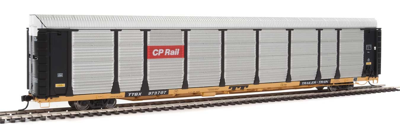 WalthersProto 101328 HO - 89ft Thrall Bi-Level Auto Carrier - Ready To Run - Canadian Pacific Rack, TTGX Flatcar #973707