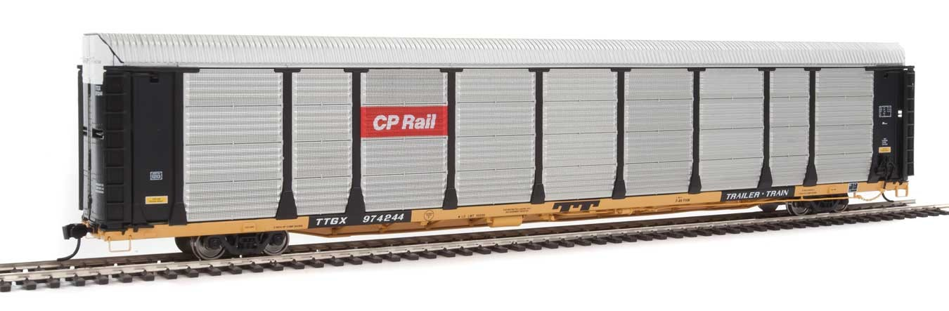 WalthersProto 101329 HO - 89ft Thrall Bi-Level Auto Carrier - Ready To Run - Canadian Pacific Rack, TTGX Flatcar #974244