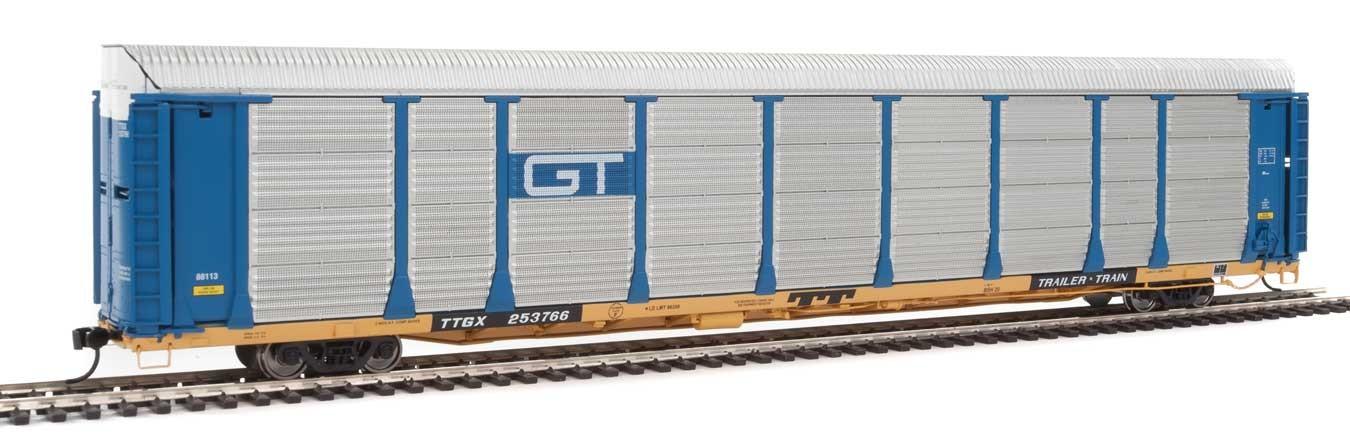 WalthersProto 101338 HO - 89ft Thrall Bi-Level Auto Carrier - Ready To Run - Grand Trunk Western Rack, TTGX Flatcar #88113/253766