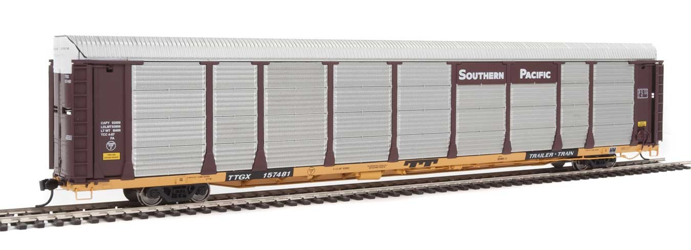 WalthersProto 101343 HO - 89ft Thrall Bi-Level Auto Carrier - Ready To Run - Southern Pacific Rack, TTGX Flatcar #157481