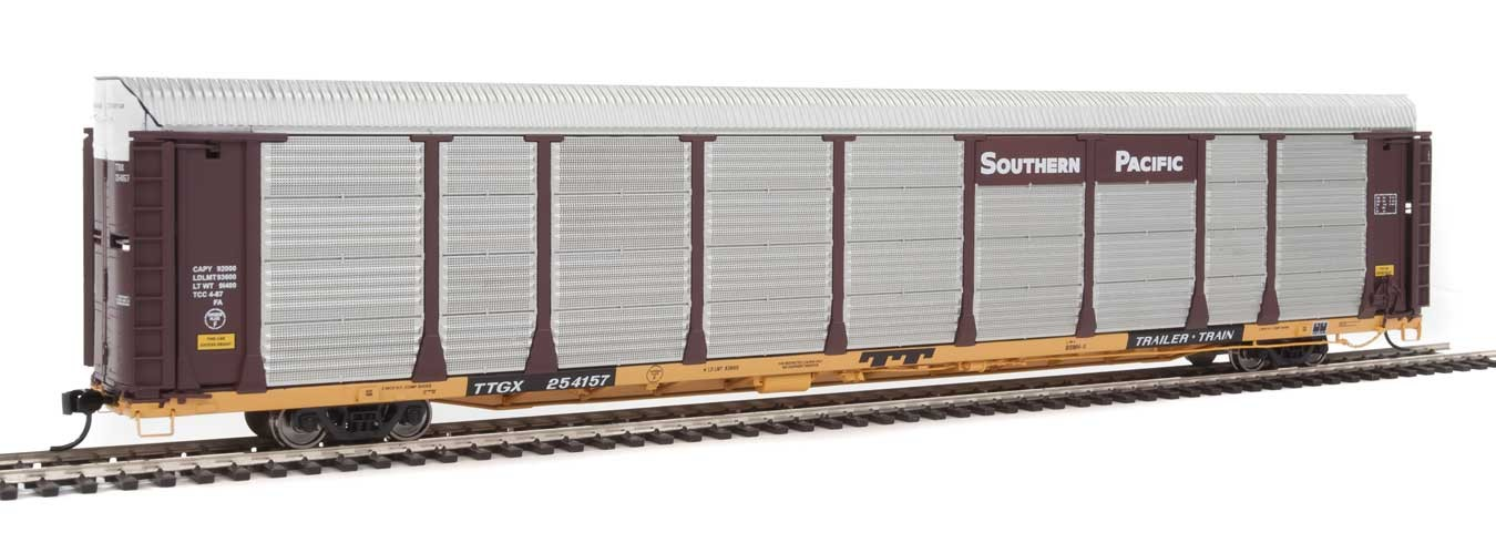 WalthersProto 101344 HO - 89ft Thrall Bi-Level Auto Carrier - Ready To Run - Southern Pacific Rack, TTGX Flatcar #254157