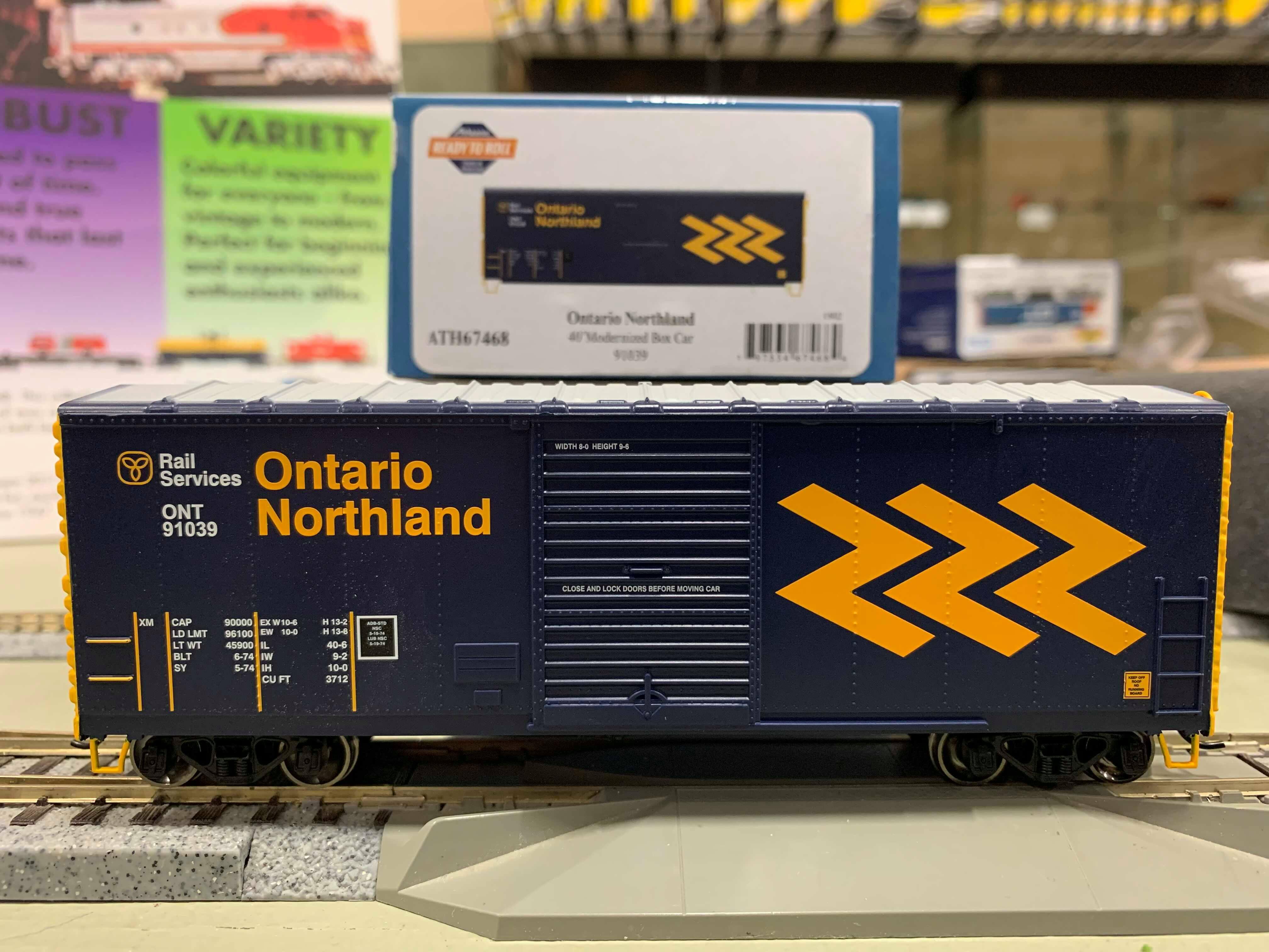 Athearn RTR 67466 HO - 40 Ft Modernized Box - Ontario Northland Railroad (ONR) #91019