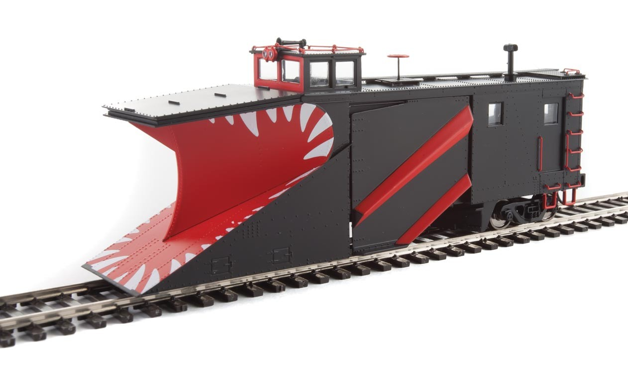 WalthersProto 110029 HO - Russell Snowplow - Ready to Run - Painted, Unlettered (black, red, white Teeth)