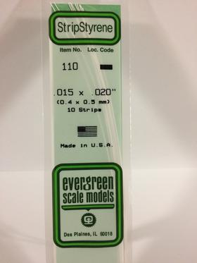 Evergreen Scale Models 110 Opaque White Polystyrene Strips 14in .015x.020 (10pcs pkg)