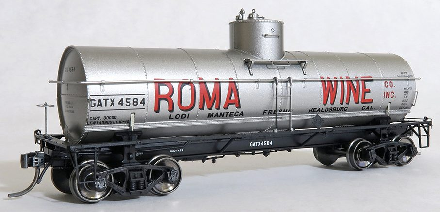 Tangent Scale Models 19120-03 HO - GA 1917-Design 8000 Gal. Insulated Tank Car - GATX -Roma Wine California- 1940+ #4588
