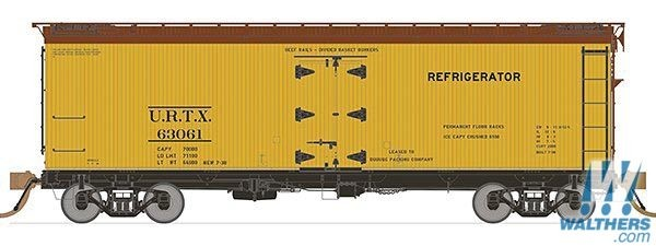 Rapido Trains 121061-3 37ft General American Meat Reefer Union Refrigerator Transit URTX No.63072