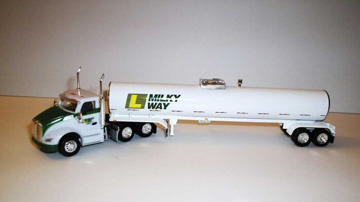 Trucks n Stuff TNS128 - HO Kenworth T680 Day-Cab Tractor with Food-Grade Trailer - Assembled -- Lynden Milky Way (white, green, yellow)