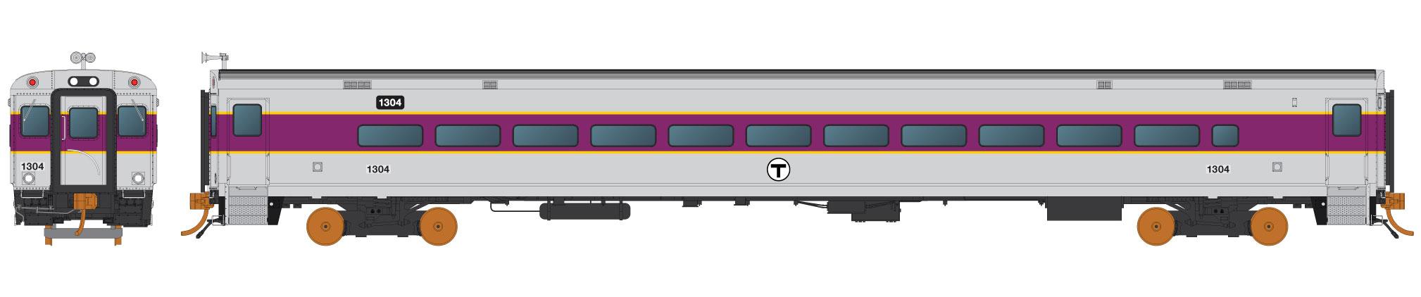 Rapido 128507 - HO Scale Comet Commuter Car - MBTA Set 1