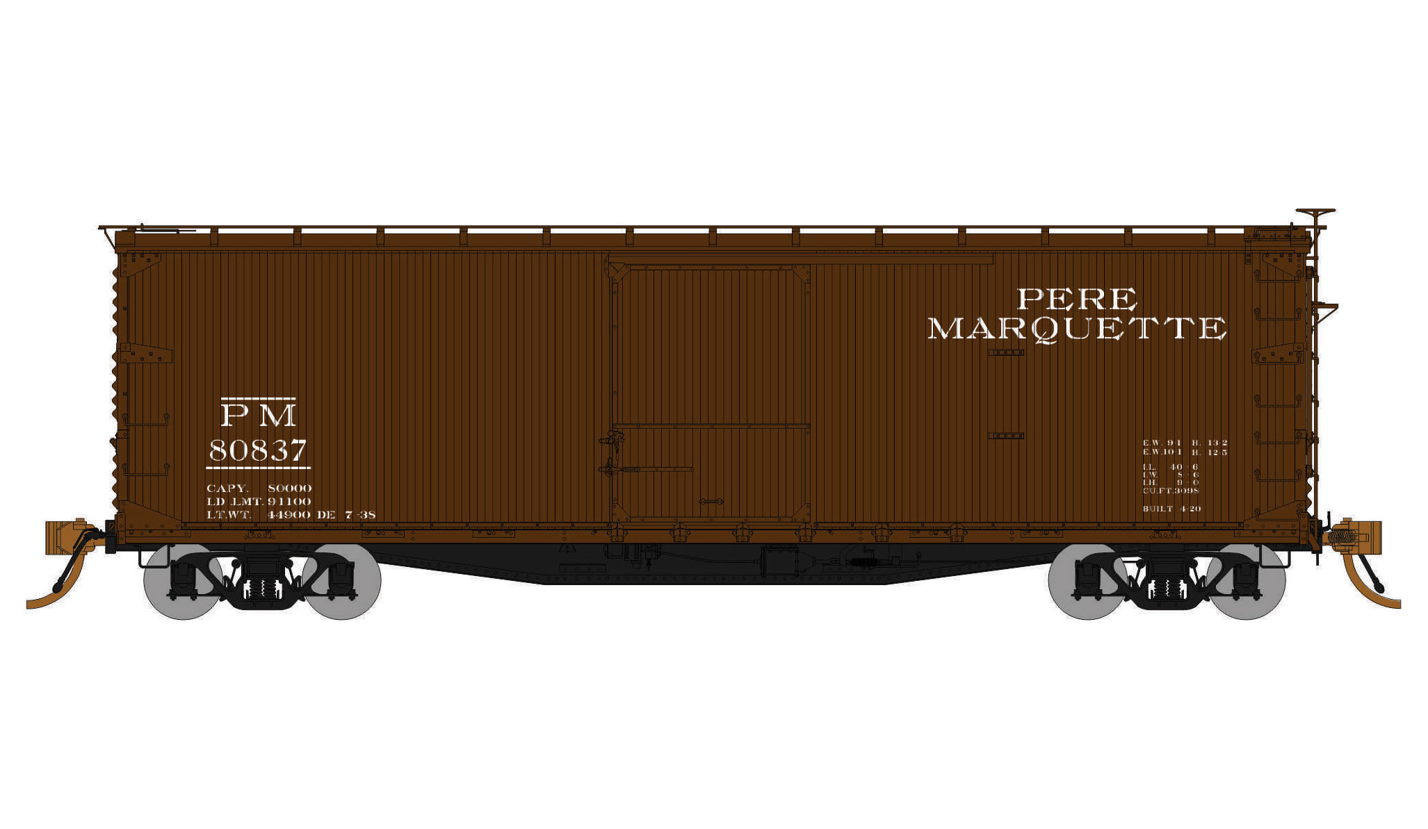 Rapido Trains 130109-3 HO USRA 40ft Double Sheathed Wood Boxcar Pere Marquette  Road No.81329