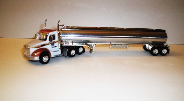 Trucks n Stuff TNS135 - HO Peterbilt 579 Day-Cab Tractor with Gas Tank Trailer - Assembled -- Cox Petroleum (white, red, chrome)