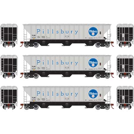 Athearn 18758- HO RTR PS 4740 Covered Hopper, TLDX Pillsbury/Grey - 3 pack