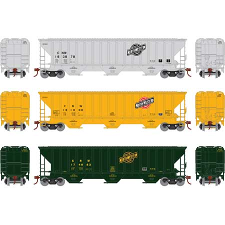 Athearn 18770 - HO RTR PS 4740 Covered Hopper, C&NW/Assorted 3 pack