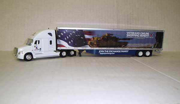 Trucks n Stuff 16104 HO - Cascadia Sleeper-Cab Tractor - 53ft Dry Van Trailer - Exchange
