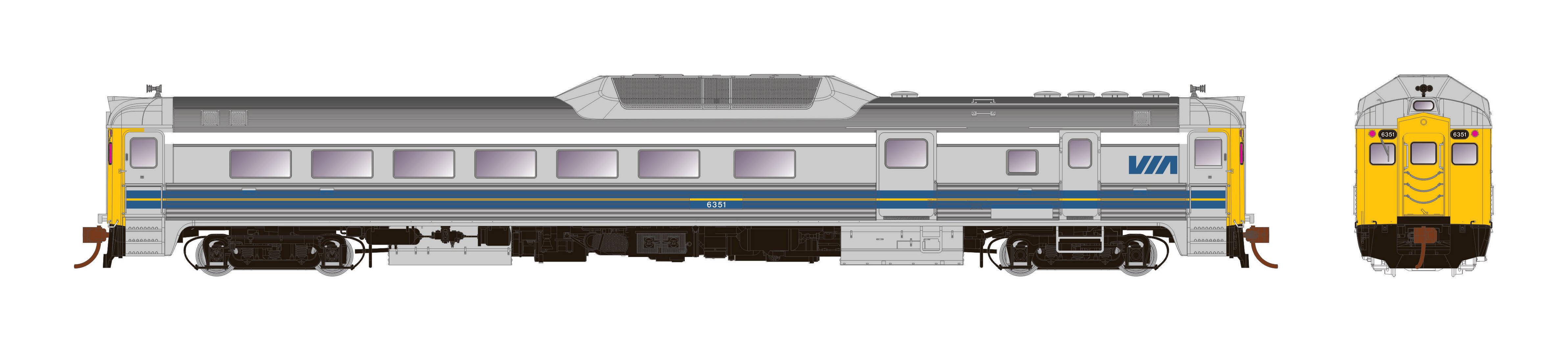Rapido Trains 16250 - HO Budd RDC-3 - PH2 - DC - VIA Rail #6356