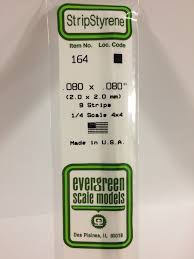 Evergreen Scale Models 164 Opaque White Polystyrene Strips 14in .08x.08 (9pcs pkg)