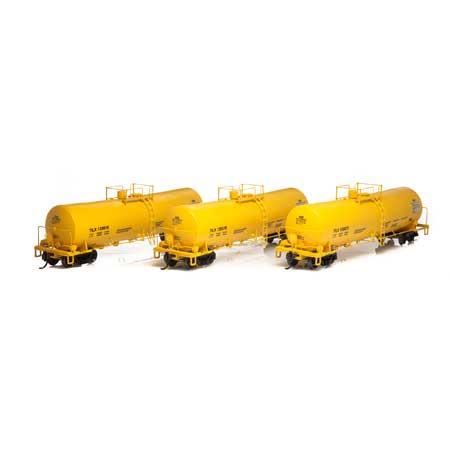 Athearn 16665 RTR HO - 16K Gallon Tank Car - TILX/Yellow #1 (3pk)