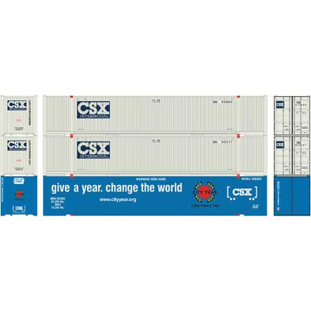 Athearn 17923 HO RTR 53ft Jindo Container CSX 3 Pack Set 1