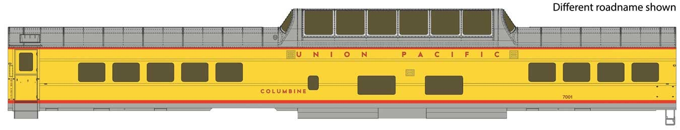 WalthersProto 18551 HO - 85Ft ACF Dome Coach UP Heritage Fleet - Ready to Run - Lighted - Union Pacific, Columbine #7001