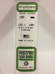 Evergreen Scale Models 188 Opaque White Polystyrene Strips 14in .125x.188 (6pcs pkg)