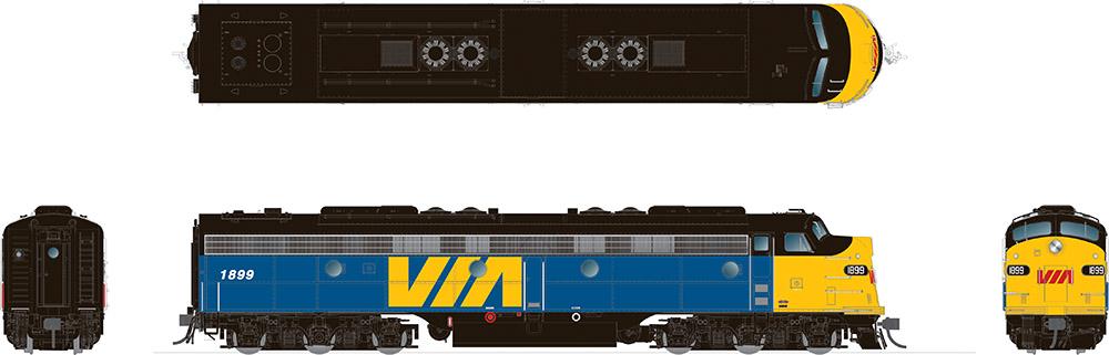 Rapido 28545 HO - EMD E8A (DC/DCC/Sound): VIA Rail Canada #1898