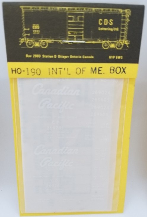 CDS Lettering 190 HO Scale - CP International of Maine Division 40Ft PS-1 box - Dry Transfer Lettering Sets - White
