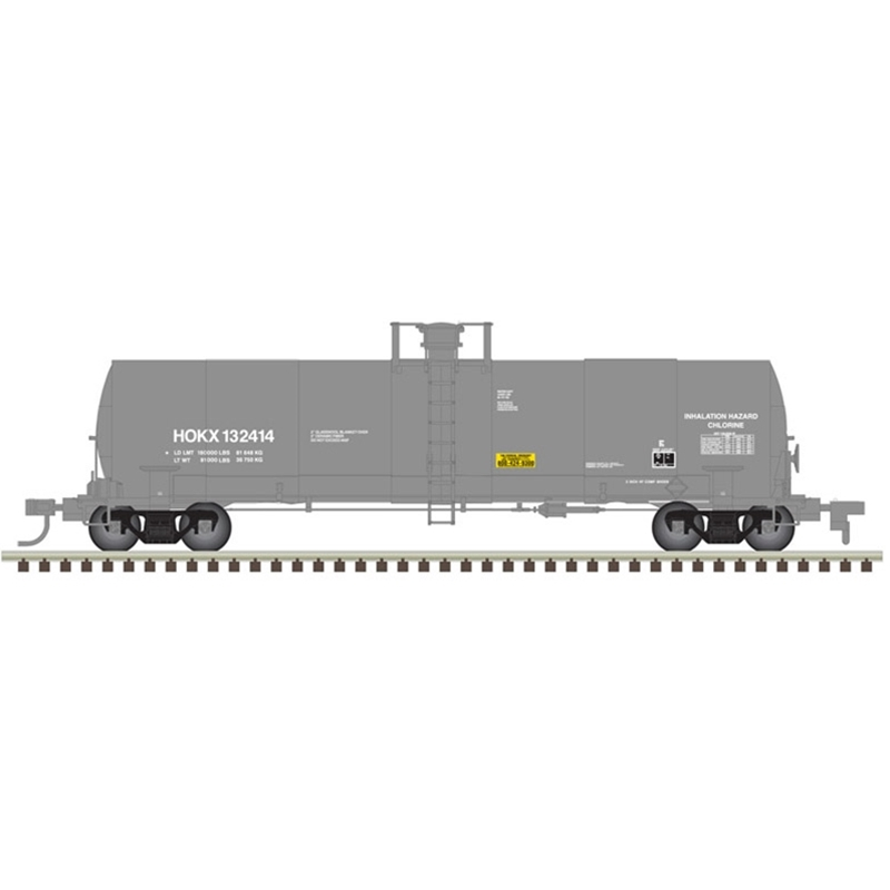 Atlas 20005629 HO 17,360 Gallon Chlorine Tank Car HOKX (Rect 2003) No.132414