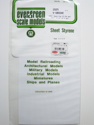 Evergreen Scale Models 2025 - Opaque White Polystyrene V Groove Siding 0.025in(1 piece)