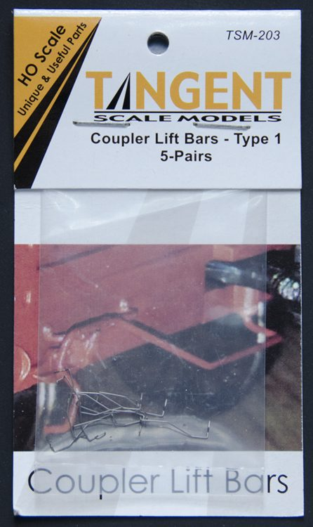 Tangent Scale Models 203 HO Scale - Coupler Lift Bars – Sharper Drop Angle – 5 Pairs