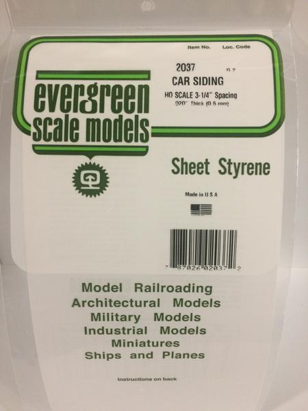 Evergreen Scale Models 2037 .037in Opaque White Polystyrene HO Scale Freight Car Siding (1 Sheet Pack)