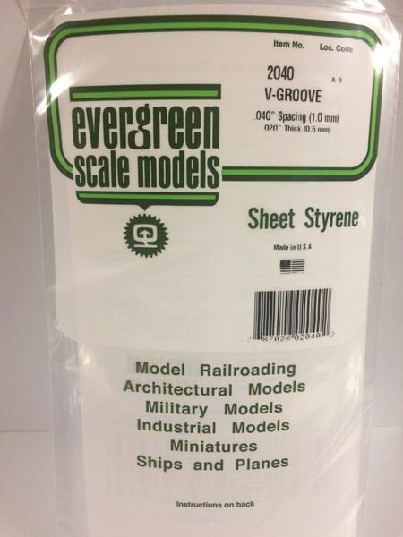 Evergreen Scale Models 2040 .040in Opaque White Polystyrene V Groove Siding (1 sheet)