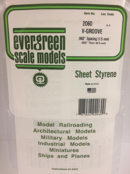 Evergreen Scale Models 2060 .060in Opaque White Polystyrene V Groove Siding (1 Sheet)